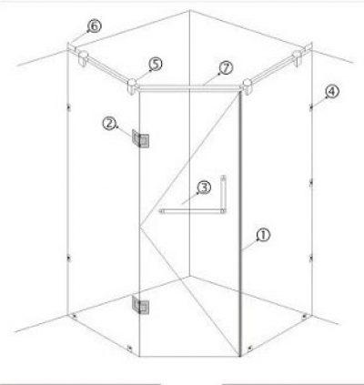 Bộ cabin buồng tắm kính cửa mở đẩy
